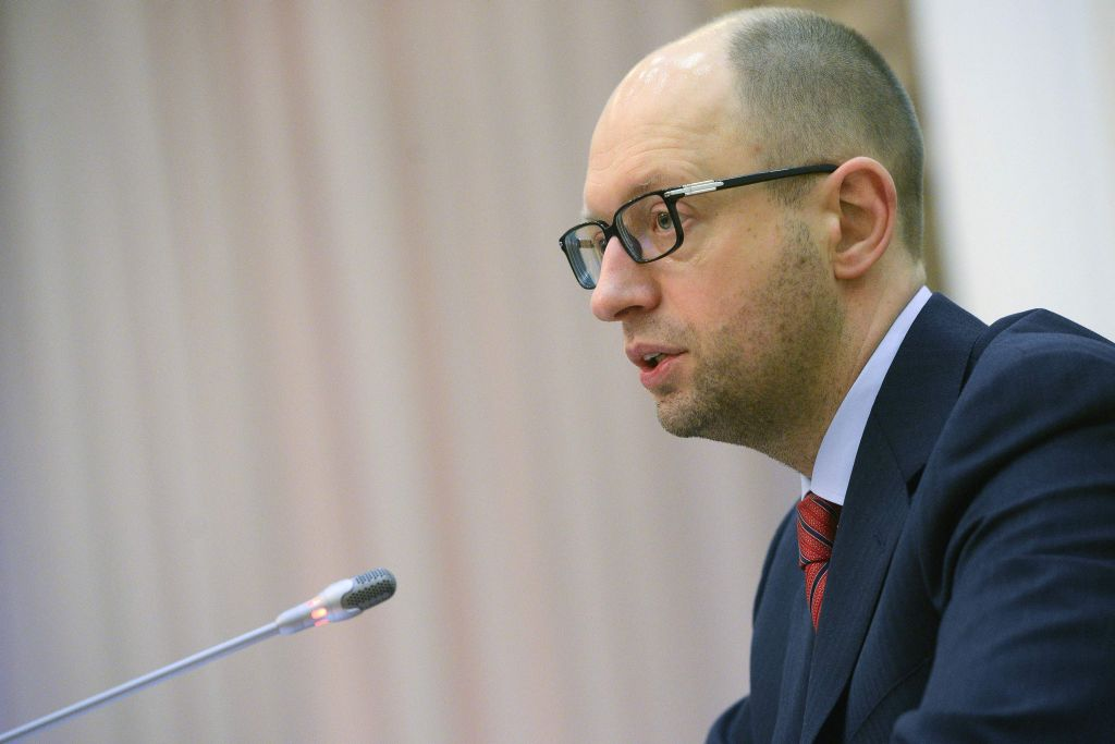Yatsenyuk, a member of Ukraine's interim leadership, speaks during a government meeting in parliament in Kiev