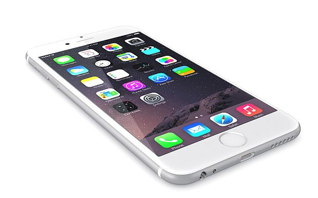 Apple Silver iPhone 6 Plus showing the home screen with iOS 8.