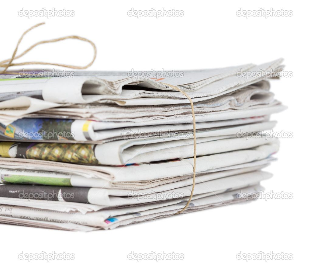 Pile of newspapers, tied with a string