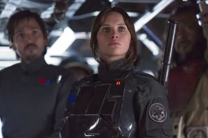 Rogue One: A Star Wars Story..L to R: Cassian Andor (Diego Luna), Jyn Erso (Felicity Jones), and Baze Malbus (Jiang Wen)..