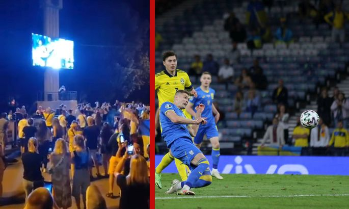 GLASGOW, SCOTLAND - JUNE 29: Artem Dovbyk of Ukraine scores their side's second goal during the UEFA Euro 2020 Championship Round of 16 match between Sweden and Ukraine at Hampden Park on June 29, 2021 in Glasgow, Scotland. (Photo by Robert Perry - Pool/Getty Images)